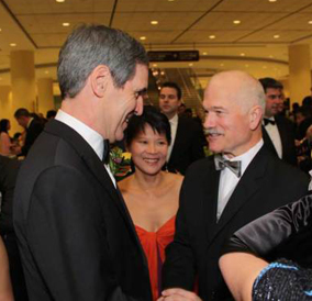 Michael Ignatieff and Jack Layton at the 2009 Dragon Ball in Toronto — with Jack's wife Olivia Chow in the middle. They do look friendly here?