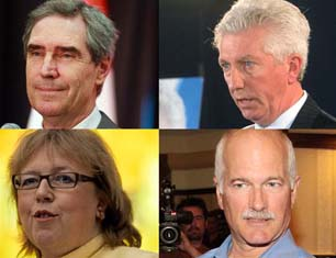 Clockwise from top left:  Liberal leader Michael Ignatieff, Bloc Quebecois leader Gilles Duceppe, New Democratic Party leader Jack Layton, and Green Party of Canada leader Elizabeth May. If shares of Canada-wide popular vote in recent opinion polls were all that counted, it would only take three of these leaders to form a stable majority coalition government in Ottawa. Alas, real political life is not quite so simple?