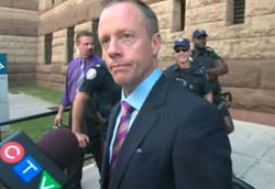 Former Ontario attorney-general Michael Bryant outside court building in old Toronto city hall. May 25, 2010. 