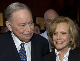 Jacques Parizeau, Parti Québécois Premier of Québec, 1994–1996, and his wife Lisette Lapointe at a book launch in Montréal, November16, 2009.