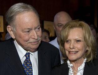 Jacques Parizeau, Parti Québécois Premier of Québec, 1994–1996, and his wife Lisette Lapointe at a book launch in Montréal, November16, 2009.
