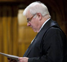 Speaker of the Canadian House of Commons Peter Milliken stands during question period,  Tuesday 11 May 2010. He granted an extension to the parties until Friday after his ruling two weeks ago that the government's refusal to hand over documents on Afghan detainees violates the privileges of MPs. All parties reached an agreement in principle on implementing his ruling by the end of the Friday extension. Photo: The Canadian Press.