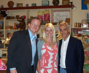 Better in Muskoka the day before: Local girl Candie Walker with White House press secretary Robert Gibbs (l) and chief of staff Rahm Emanuel (2) in Huntsville chocolate shop.