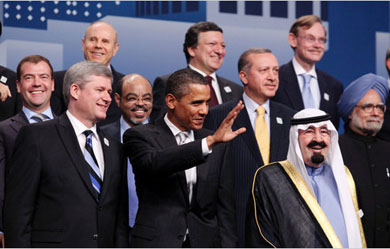 """""""President Obama and other world leaders at the Group of 20 summit meeting in Toronto on Sunday"""" (including Prime Minister Harper). Luke Sharrett/The New York Times."""