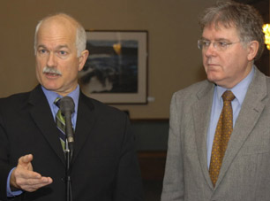 Federal NDP Leader Jack Layton (left) and St. John's East MP Jack Harris probably do have a point of principle on the Afghan detainee issue. But is it really worth, eg, precipitating a snap federal election over? Photograph by: Garry Hebbard, The Telegram.