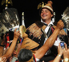 Newly elected Assembly of First Nations Grand Chief Shawn Atleo is lifted onto supporters' shoulders, July 2009. Photograph by: Ted Rhodes, Canwest News Service, Vancouver Sun.
