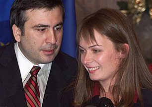 Mikheil Saakashvili, Georgia's president, with his Dutch wife Sandra Roelofs: AP.