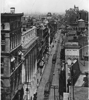 St. James Street, looking East, Montreal, QC, about 1910 — at the centre of the old Canadian financial metropolis.