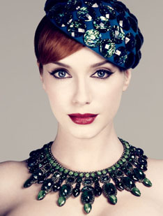 """Christina Hendricks's """"retro bombshell with brains"""" on Mad Men — which will be returning to the North American TV ether this coming Sunday, July 25: the best show on television anywhere in 2010."""