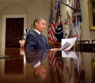 President Obama prepares to record his weekly address for July 3, 2010. Photo: White House / C. Kennedy.