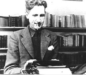 George Orwell, hard at work writing his books.