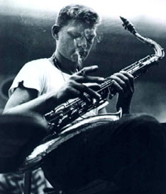 """The great Zoot Sims in his youth. He painted houses for a time as a day job. And among various other memorable things he once said he liked Las Vegas best when the mob ran it, because """"it was more human."""""""