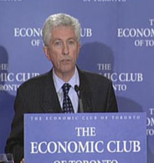 "While still pretending to believe in some kind of separate country of Quebec, in the fall of 2008 Gilles Duceppe visited Ontario's capital city, ""to urge voters here not to let Stephen Harper get his majority."" He told ""about 200 members of the Economic Club of Toronto ... that a vote for the Conservatives at a time of such economic fragility in North America is a vote for financial chaos."""