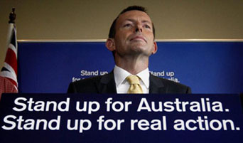 Australian Liberal Party leader Tony Abbott on the campaign trail. Canadians might find the first part of the slogan here vaguely familiar?