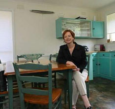 "Julia Gillard in her kitchen at home, where she is ""the first to admit she's not a culinary whiz."" Photo: Ken Irwin."