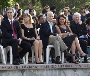 hwfe02 ...  Liberal leader Michael Ignatieff (L), New Democrat Party (NDP) leader Jack Layton (C), and Liberal Party MP Bob Rae (R) sit at 25th anniversary memorial gathering at the Air India monument in Toronto June 23, 2010.