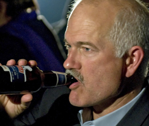NDP leader Jack Layton enjoys a cold beer, January 2010.