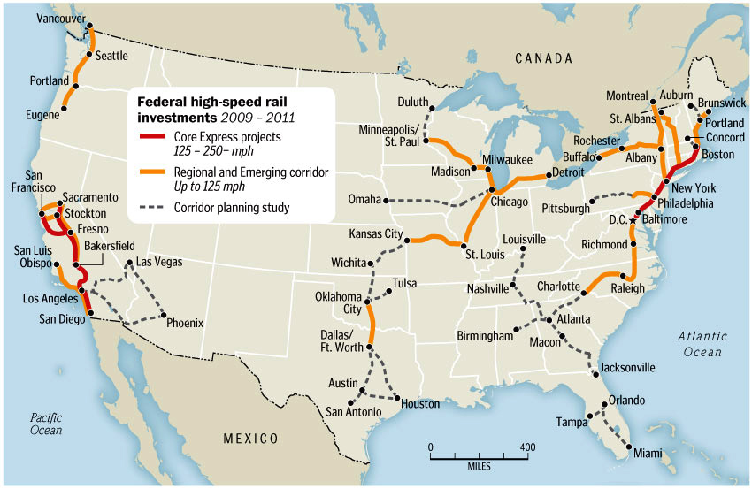 Highspeed Rail In USA And Canada Today Yet Another Boogie - Us canada railroad map